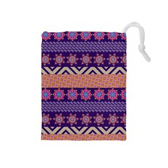 Colorful Winter Pattern Drawstring Pouches (Medium)