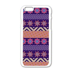 Colorful Winter Pattern Apple iPhone 6/6S White Enamel Case