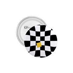 Dropout Yellow Black And White Distorted Check 1 75  Buttons by designworld65