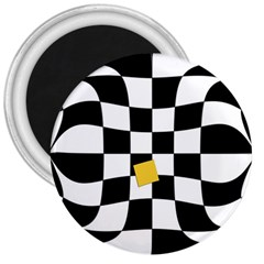 Dropout Yellow Black And White Distorted Check 3  Magnets by designworld65