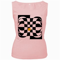 Dropout Yellow Black And White Distorted Check Women s Pink Tank Top by designworld65