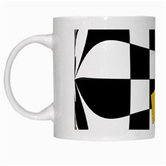 Dropout Yellow Black And White Distorted Check White Mugs by designworld65