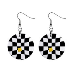 Dropout Yellow Black And White Distorted Check Mini Button Earrings by designworld65