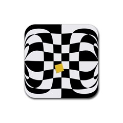 Dropout Yellow Black And White Distorted Check Rubber Square Coaster (4 Pack)  by designworld65