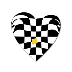 Dropout Yellow Black And White Distorted Check Heart Magnet by designworld65