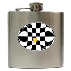 Dropout Yellow Black And White Distorted Check Hip Flask (6 Oz) by designworld65