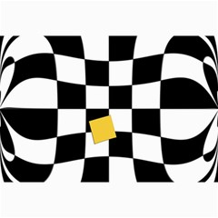 Dropout Yellow Black And White Distorted Check Collage Prints by designworld65