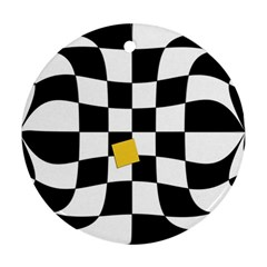 Dropout Yellow Black And White Distorted Check Round Ornament (two Sides)  by designworld65