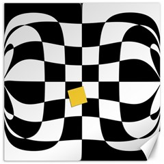 Dropout Yellow Black And White Distorted Check Canvas 16  X 16   by designworld65