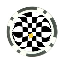 Dropout Yellow Black And White Distorted Check Poker Chip Card Guards by designworld65