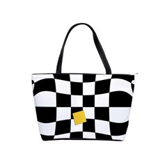 Dropout Yellow Black And White Distorted Check Shoulder Handbags by designworld65
