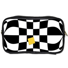 Dropout Yellow Black And White Distorted Check Toiletries Bags 2 Side by designworld65
