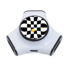 Dropout Yellow Black And White Distorted Check 3 Port Usb Hub by designworld65