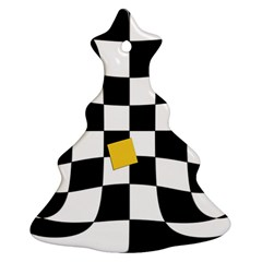 Dropout Yellow Black And White Distorted Check Christmas Tree Ornament (2 Sides) by designworld65