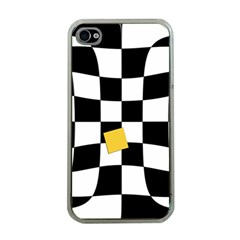 Dropout Yellow Black And White Distorted Check Apple Iphone 4 Case (clear) by designworld65