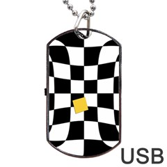 Dropout Yellow Black And White Distorted Check Dog Tag Usb Flash (one Side) by designworld65