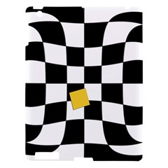 Dropout Yellow Black And White Distorted Check Apple Ipad 3/4 Hardshell Case by designworld65
