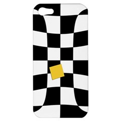 Dropout Yellow Black And White Distorted Check Apple Iphone 5 Hardshell Case by designworld65