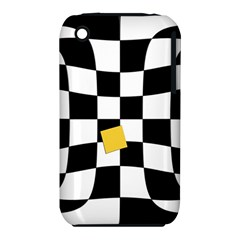 Dropout Yellow Black And White Distorted Check Apple Iphone 3g/3gs Hardshell Case (pc+silicone) by designworld65