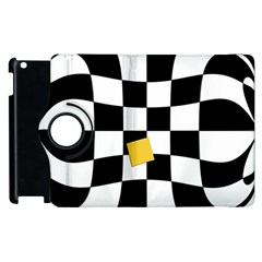 Dropout Yellow Black And White Distorted Check Apple Ipad 3/4 Flip 360 Case by designworld65