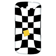 Dropout Yellow Black And White Distorted Check Samsung Galaxy S3 S Iii Classic Hardshell Back Case by designworld65