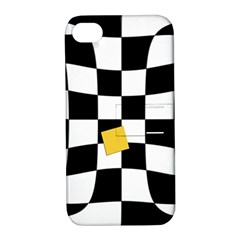 Dropout Yellow Black And White Distorted Check Apple Iphone 4/4s Hardshell Case With Stand by designworld65