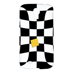 Dropout Yellow Black And White Distorted Check Samsung Galaxy S4 I9500/i9505 Hardshell Case by designworld65