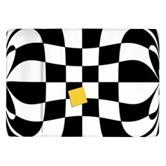Dropout Yellow Black And White Distorted Check Samsung Galaxy Tab 10 1  P7500 Flip Case by designworld65