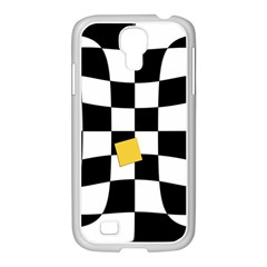 Dropout Yellow Black And White Distorted Check Samsung Galaxy S4 I9500/ I9505 Case (white) by designworld65