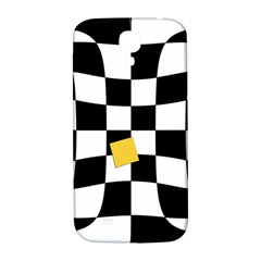 Dropout Yellow Black And White Distorted Check Samsung Galaxy S4 I9500/i9505  Hardshell Back Case by designworld65