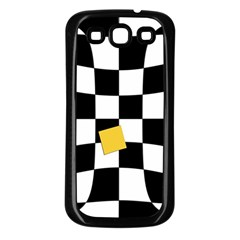 Dropout Yellow Black And White Distorted Check Samsung Galaxy S3 Back Case (black) by designworld65