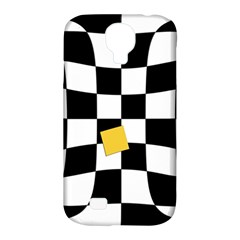 Dropout Yellow Black And White Distorted Check Samsung Galaxy S4 Classic Hardshell Case (pc+silicone) by designworld65