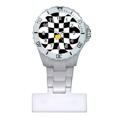 Dropout Yellow Black And White Distorted Check Plastic Nurses Watch by designworld65