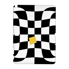 Dropout Yellow Black And White Distorted Check Samsung Galaxy Note 10 1 (p600) Hardshell Case by designworld65