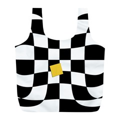Dropout Yellow Black And White Distorted Check Full Print Recycle Bags (l)  by designworld65