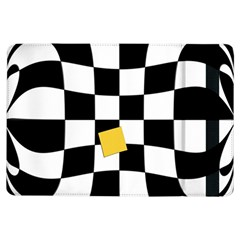 Dropout Yellow Black And White Distorted Check Ipad Air Flip by designworld65