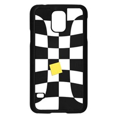 Dropout Yellow Black And White Distorted Check Samsung Galaxy S5 Case (black) by designworld65