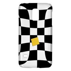 Dropout Yellow Black And White Distorted Check Galaxy S5 Mini by designworld65