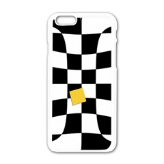 Dropout Yellow Black And White Distorted Check Apple Iphone 6/6s White Enamel Case by designworld65