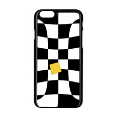 Dropout Yellow Black And White Distorted Check Apple Iphone 6/6s Black Enamel Case by designworld65