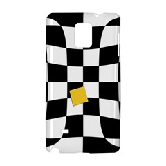 Dropout Yellow Black And White Distorted Check Samsung Galaxy Note 4 Hardshell Case by designworld65