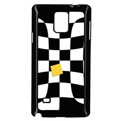Dropout Yellow Black And White Distorted Check Samsung Galaxy Note 4 Case (black) by designworld65
