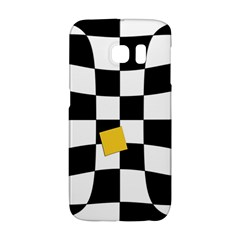 Dropout Yellow Black And White Distorted Check Galaxy S6 Edge by designworld65