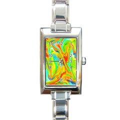 Happy Multicolor Painting Rectangle Italian Charm Watch by designworld65