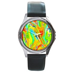 Happy Multicolor Painting Round Metal Watch by designworld65