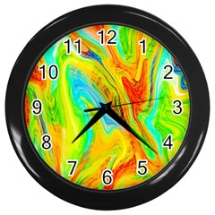 Happy Multicolor Painting Wall Clocks (black) by designworld65
