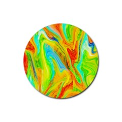 Happy Multicolor Painting Rubber Round Coaster (4 Pack)  by designworld65