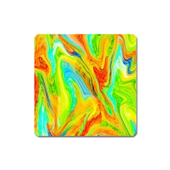 Happy Multicolor Painting Square Magnet by designworld65