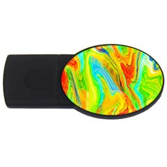 Happy Multicolor Painting Usb Flash Drive Oval (2 Gb)  by designworld65