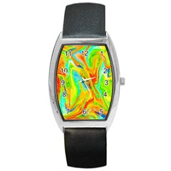 Happy Multicolor Painting Barrel Style Metal Watch by designworld65